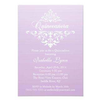 Elegant Lavender Purple Ombre Quinceañera Party Card