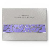 Elegant Lavender Purple Silver Filigre Envelope