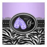 Elegant Lavender Purple Zebra Baby Shower Custom Announcement