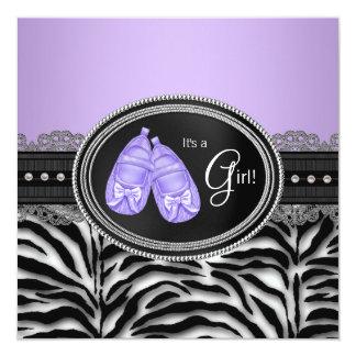 "Elegant Lavender Purple Zebra Baby Shower 5.25"" Square Invitation Card"