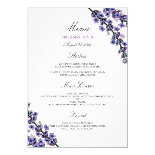 Elegant Lavender Wedding Dinner Menu Card