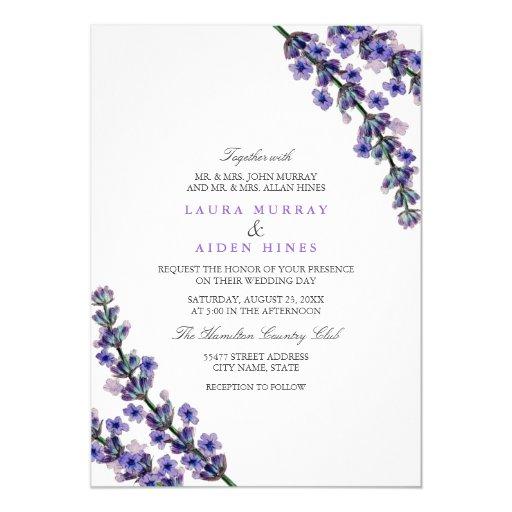 elegant lavender wedding invitation zazzle With wedding invitations with lavender flowers