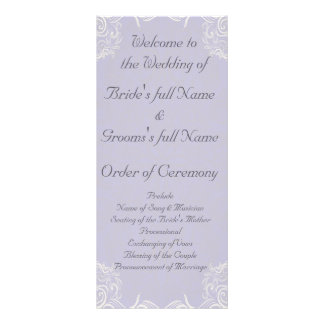 Elegant Lavender with White Swirls Wedding Custom Rack Card