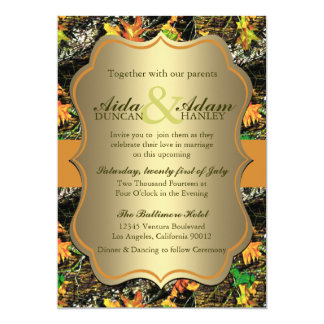 Elegant Lavish Gold Rustic Camo Wedding Invitation