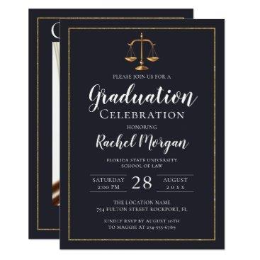 Elegant Law School Gold Justice Graduation Photo Invitation