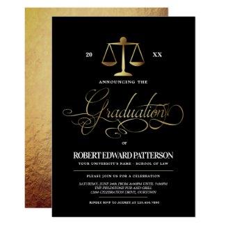 Elegant Law School Graduation Party Invitations