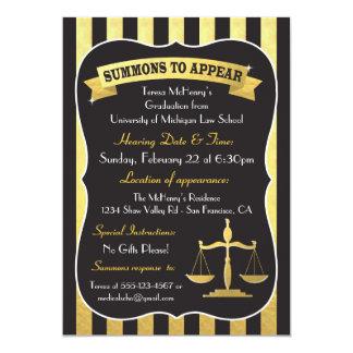 Elegant Law School Graduation Summons Card