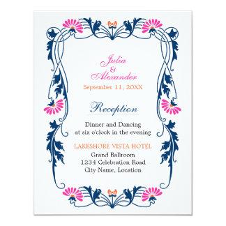 Elegant Leaf Florals and Swirls Reception Cards