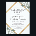 "Elegant Leaf Sage Olive Gold Foil ENGAGEMENT PARTY Invitation<br><div class=""desc"">Elegant ENGAGEMENT PARTY invitations with deep green,  sage color leaves,  leaf,  olive branches,  foliage - botanical theme.  Faux gold foil frame in diamond shape.   Perfect for any time of year or wedding theme. Delicate design in watercolor painted leaves.  Back of card has Future Mrs. Name</div>"