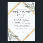 """Elegant Leaf Sage Olive Gold Foil ENGAGEMENT PARTY Invitation<br><div class=""""desc"""">Elegant ENGAGEMENT PARTY invitations with deep green,  sage color leaves,  leaf,  olive branches,  foliage - botanical theme.  Faux gold foil frame in diamond shape.   Perfect for any time of year or wedding theme. Delicate design in watercolor painted leaves.  Back of card has Future Mrs. Name</div>"""