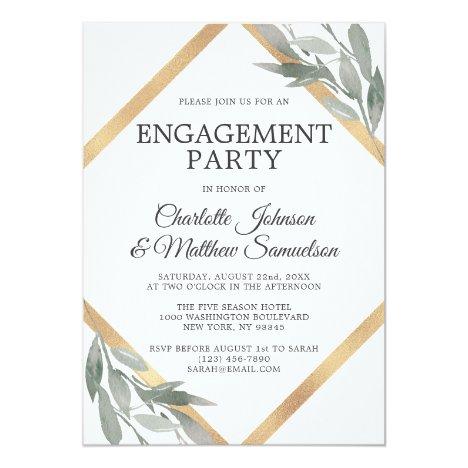 Elegant Leaf Sage Olive Gold Foil ENGAGEMENT PARTY Invitation