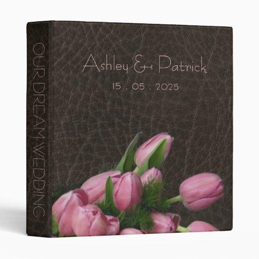 Elegant Leather and Romantic Tulips 3 Ring Binder