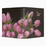 Elegant Leather and Romantic Tulips 3 Ring Binders