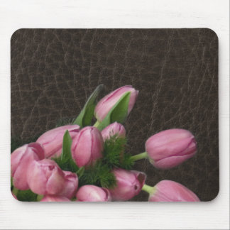 Elegant Leather and Romantic Tulips Mouse Pad