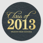 "Elegant ""leather""  black and gold Class of 2013 Round Stickers"