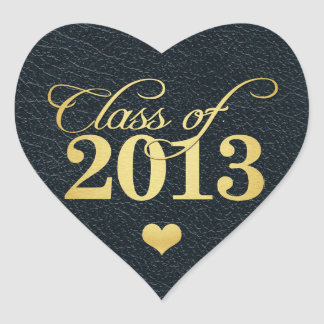 "Elegant ""leather""  black and gold Class of 2013 Sticker"