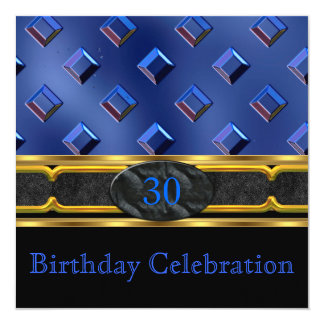 Elegant Leather Blue Metal Gold Birthday Party Card
