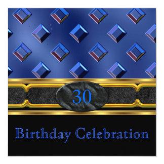 Elegant Leather Blue Metal Gold Birthday Party Invitation
