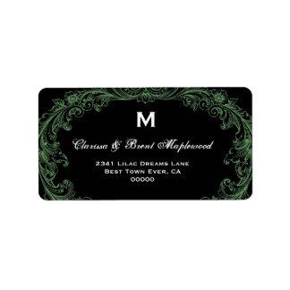 Elegant Leather Green Black Vintage Monogram B453 Label
