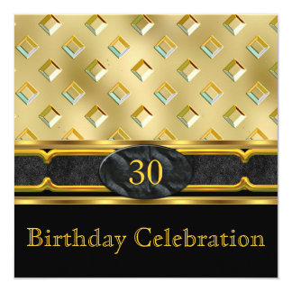 Elegant Leather Metal Light Gold Birthday Party Card