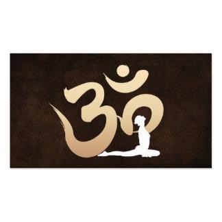 Elegant Leather Om Symbol Yoga & Meditation Business Cards