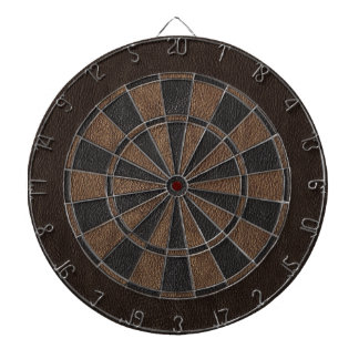 Elegant Leather Print Dartboard With Darts