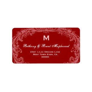 Elegant Leather Red Vintage Monogram B452 Label