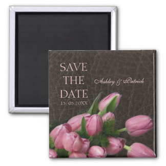 Elegant Leather&Romantic Tulips Save the Date 2 Inch Square Magnet