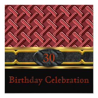 Elegant Leather Rust Red Metal Gold Birthday Party Invitation