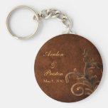 Elegant Leather Scroll Leaf Wedding Favor Keychain