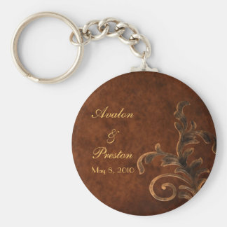 Elegant Leather Scroll Leaf Wedding Favor Keychain