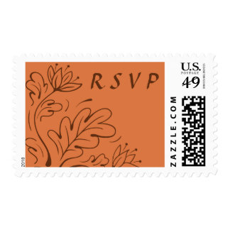 Elegant leaves autumn bloom terracotta RSVP reply Postage Stamps