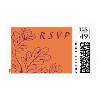 Elegant leaves autumn bloom terracotta RSVP reply Stamp