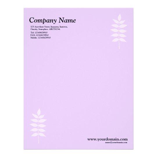 Elegant Leaves - Light Purple Letterhead