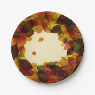 Elegant Leaves Paper Plates 7 Inch Paper Plate