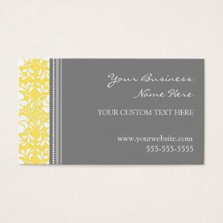 Elegant Lemon Gray Damask Business Cards