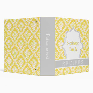 Elegant lemon yellow, grey damask recipe 3 ring binder