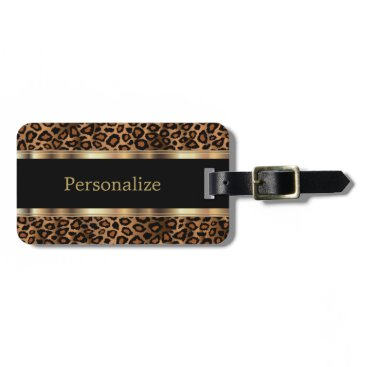 DesignsbyDonnaSiggy Elegant Leopard Animal Print | DIY Text Luggage Tag