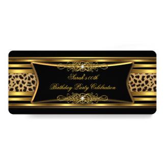 Elegant Leopard Birthday Party Black Gold 4x9.25 Paper Invitation Card