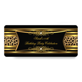 Elegant Leopard Birthday Party Black Gold Card