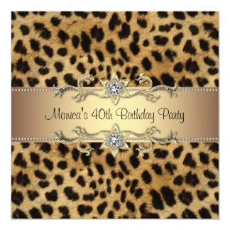 Elegant Leopard Birthday Party 5.25x5.25 Square Paper Invitation Card