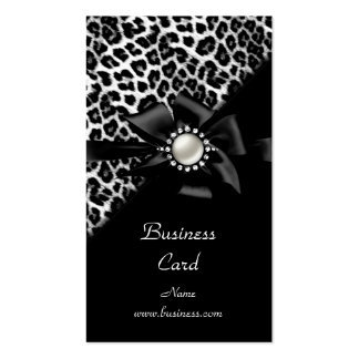 Elegant Leopard Black Silver Diamond Image Double-Sided Standard Business Cards (Pack Of 100)