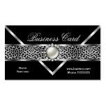 Elegant Leopard Black Silver Diamond Pearl 2 Business Cards