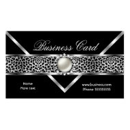 Elegant Leopard Black Silver Diamond Pearl 2 Business Cards
