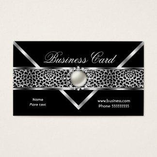 Silver diamonds pearl business cards templates zazzle elegant leopard black silver diamond pearl 2 business card colourmoves Gallery