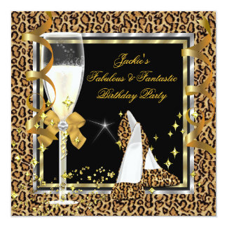 Elegant Leopard Black Silver Gold Birthday Party Card