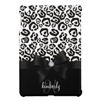 Elegant Leopard Bow & Diamond Personalized Girly iPad Mini Covers