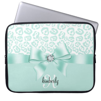 Elegant Leopard Bow & Diamond Personalized Girly Computer Sleeves