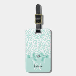 Elegant Leopard Bow & Diamond Personalized Girly Tags For Bags