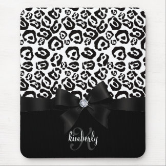 Elegant Leopard Bow & Diamond Personalized Girly Mouse Pads